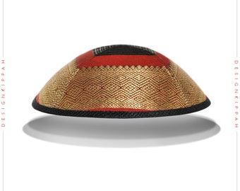 Brocaded silk kippah | Jewish wedding - Bar Mitzvah - Shabbat | Chanukah gift