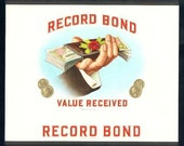 10 Old Embossed CIGAR BOX LABELS Record Bond,Canadian Club,Prudential,Blue Ribbon