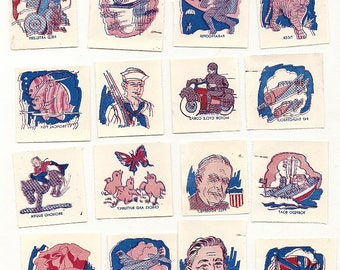 23 WW II American Transfer Pictures Children's Tattoo's US Allies