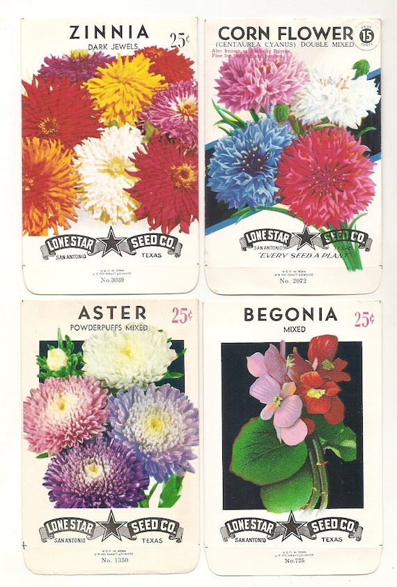 9 Different Vintage Flower Seed Packets Lone Star Seed Company Empty N.O.S.