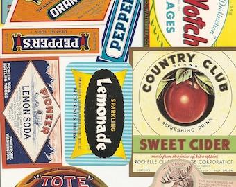 56 old vintage Soda juice etc..LABELS PEPPER UP , She,