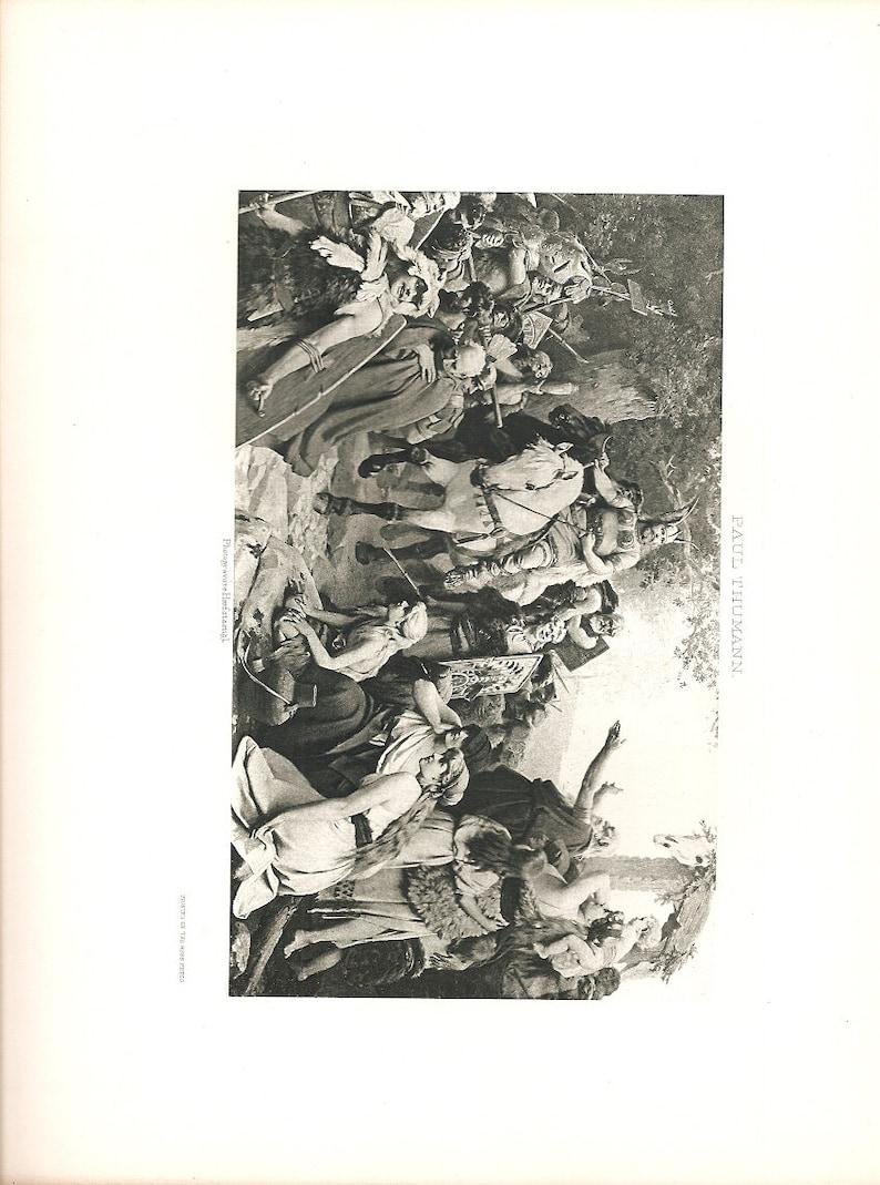 Old 1894 ANTIQUE PHOTOGRAVURE PRINT Hermann/'s Triumph Over The Romans by Paul Thumann