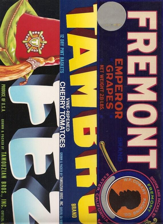 3 Old Tamouzian Bros Fruit Veg Packing Labels Cutler Ca