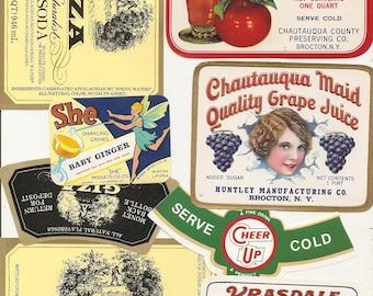 36 different old vintage Soda juice etc..LABELS PEPPER UP , She,