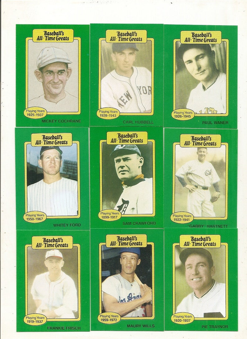 62 Old Vintage Baseballs All Time Greats Picture Cards