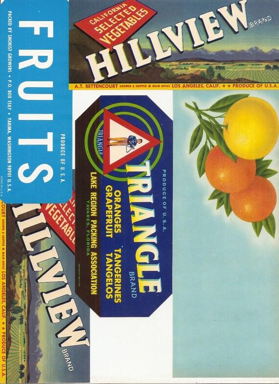 43 Old Vintage FRUIT VEGETABLE Produce CRATE Labels