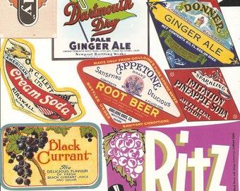 54 old vintage Soda juice etc..LABELS PEPPER UP , She,