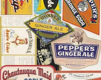 53 old vintage Soda juice etc..LABELS PEPPER UP , She,