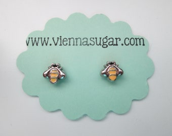 Enameled Artist Palette Magnetic Earrings with Rhinestone Accents