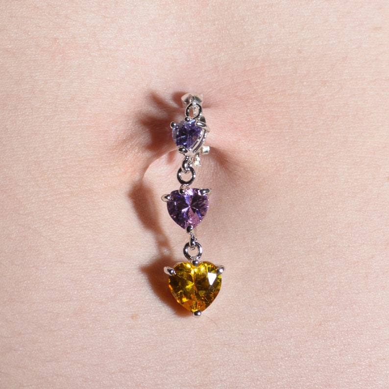 color Stacked Crystals Heart Dangle Clip on Belly Button Ring Fake Navel Piercing Tri