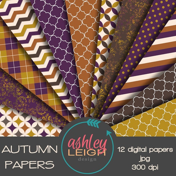 2 Sheets PURPLE and BEIGE STRIPES 12 x 12 Paper