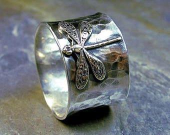 Sterlingsilber Libelle Ring breit Band Naturschmuck Kunst Nouveau Messing Insekt - verzaubert Libelle