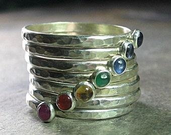 Chakra Ring Yoga Schmuck 7 Chakren Stapeln Ringe Sterlingsilber gehämmert Schmied-Edelstein-Ringe - sieben Chakren