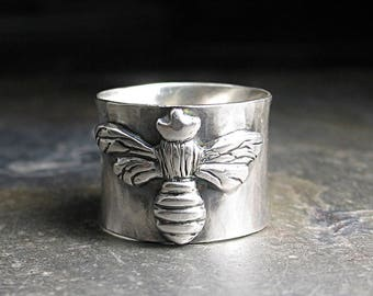 Queen Bee Ring Bumblebee Honey Bee Sterling Silver Metalsmith nature jewelry insect - The Silver Queen