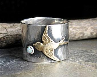Vogel Ring Breitband Sterling Silber Opal Ring Natur Schmuck Garten Schmuck Schwalbe - Dream Chaser