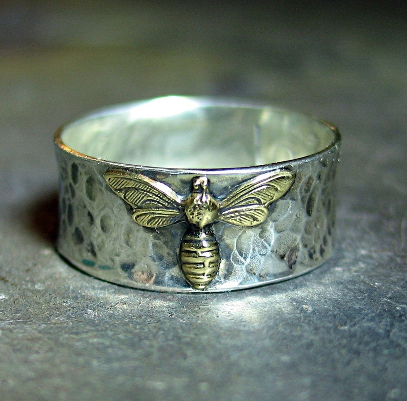 Bee Ring Honeybee Bumblebee Sterling silver band nature image 1