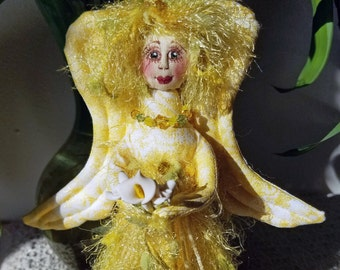 Sunny yellow fiber sculpted standing angel figurine with silk face, Swarovski crystal accents
