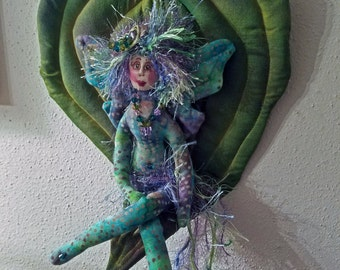 ON SALE: OOAK, fiber sculpted fairy on silk, handdyed leaf, silk face, Swarovski crystal accents, wall accent