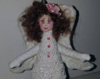 Sweet fiber sculpted Victorian Angel, silk face, lace trim