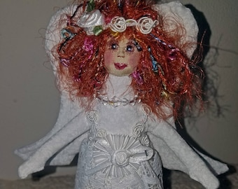 Sweet fiber sculpted white lace angel, silk face, curly red hair, and lace trim