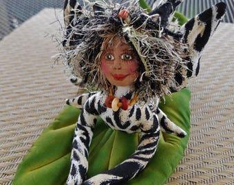 ON SALE: OOAK, Whimsical fiber sculpted jungle cat fairy on handpainted silk leaf