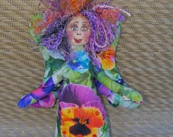Exquisite fiber sculpted flower garden angel, Swarovski crystal accents