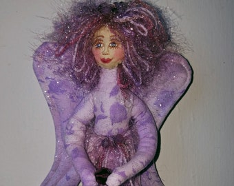 OOAK, fabric quilted wall style angel, Michael Miller fairy frost fabric, Swarovski crystal accents
