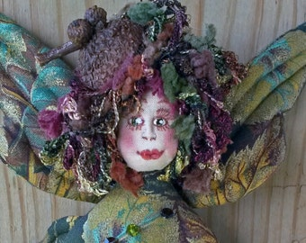 ON SALE: Enchanting OOAK fiber sculpted Fall Fairy with real acorn cap wall accent