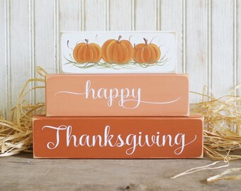 Happy Thanksgiving Shelf Sitter Blocks Sign Fall Decoration Stacking Blocks Handcrafted Hand Painted Pumpkins