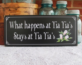 What happens at Yia Yia's Greek Grandmother Wood Sign Painted Family Gift for Her Mother's Day