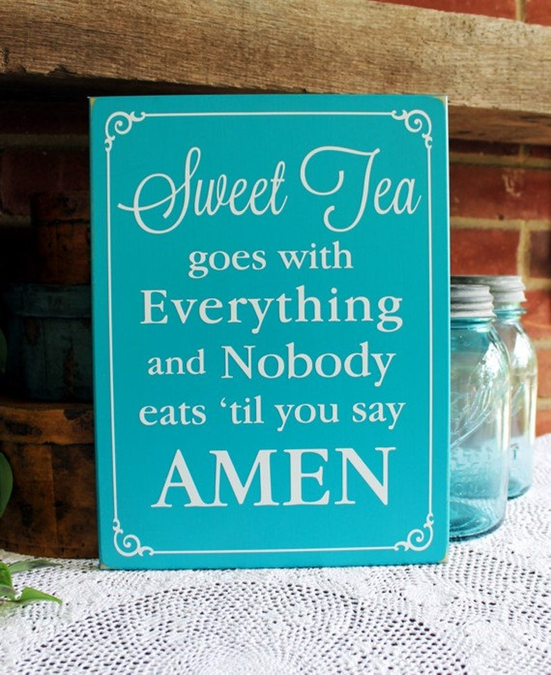 478acccb21a96 Sweet Tea Wood Sign Amen Southern Saying Wall Decor Family Home