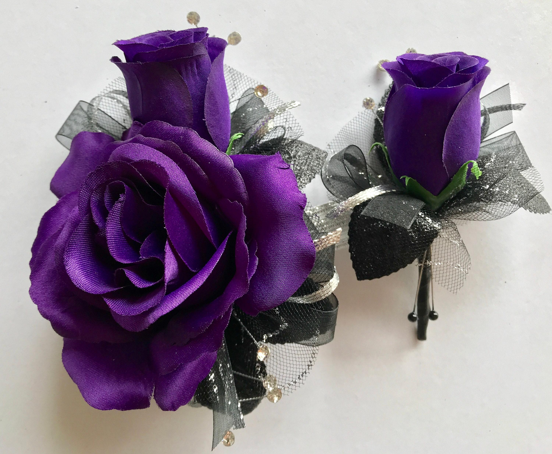 Dark Purple Silk Corsage Set New Bigger Flowers Etsy