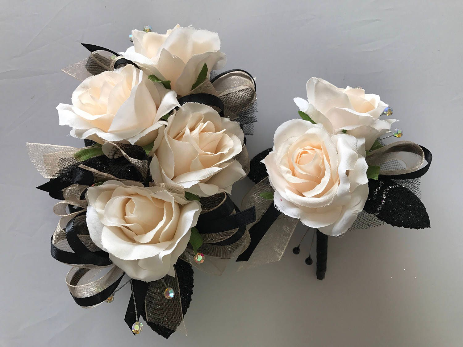 Champagne Black Blush Rose Corsage Set Artificial Flowers Etsy