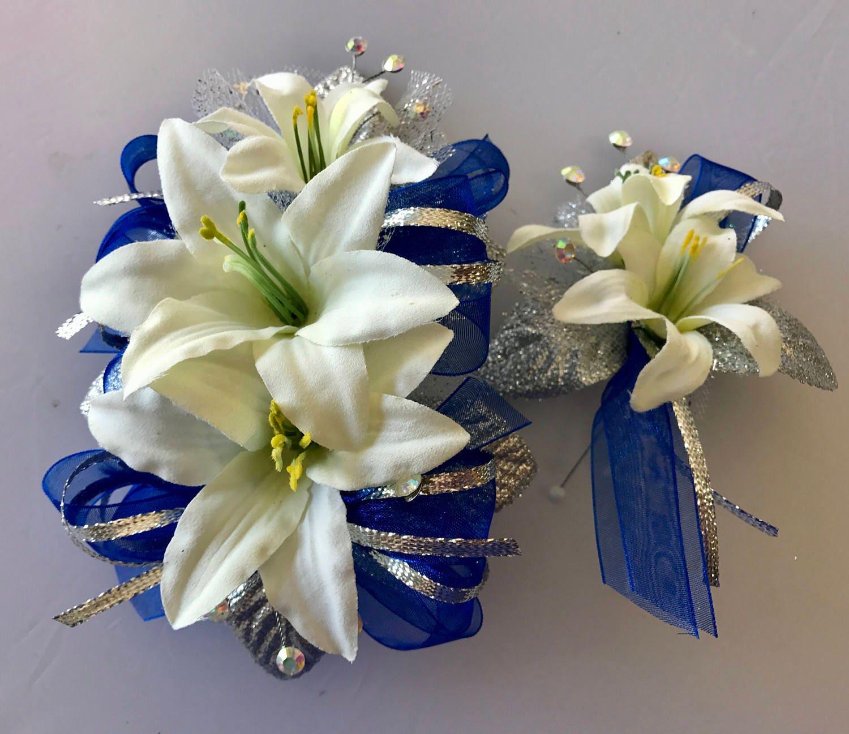 Cobalt Blue Prom Corsage Set Artificial Flowers Etsy