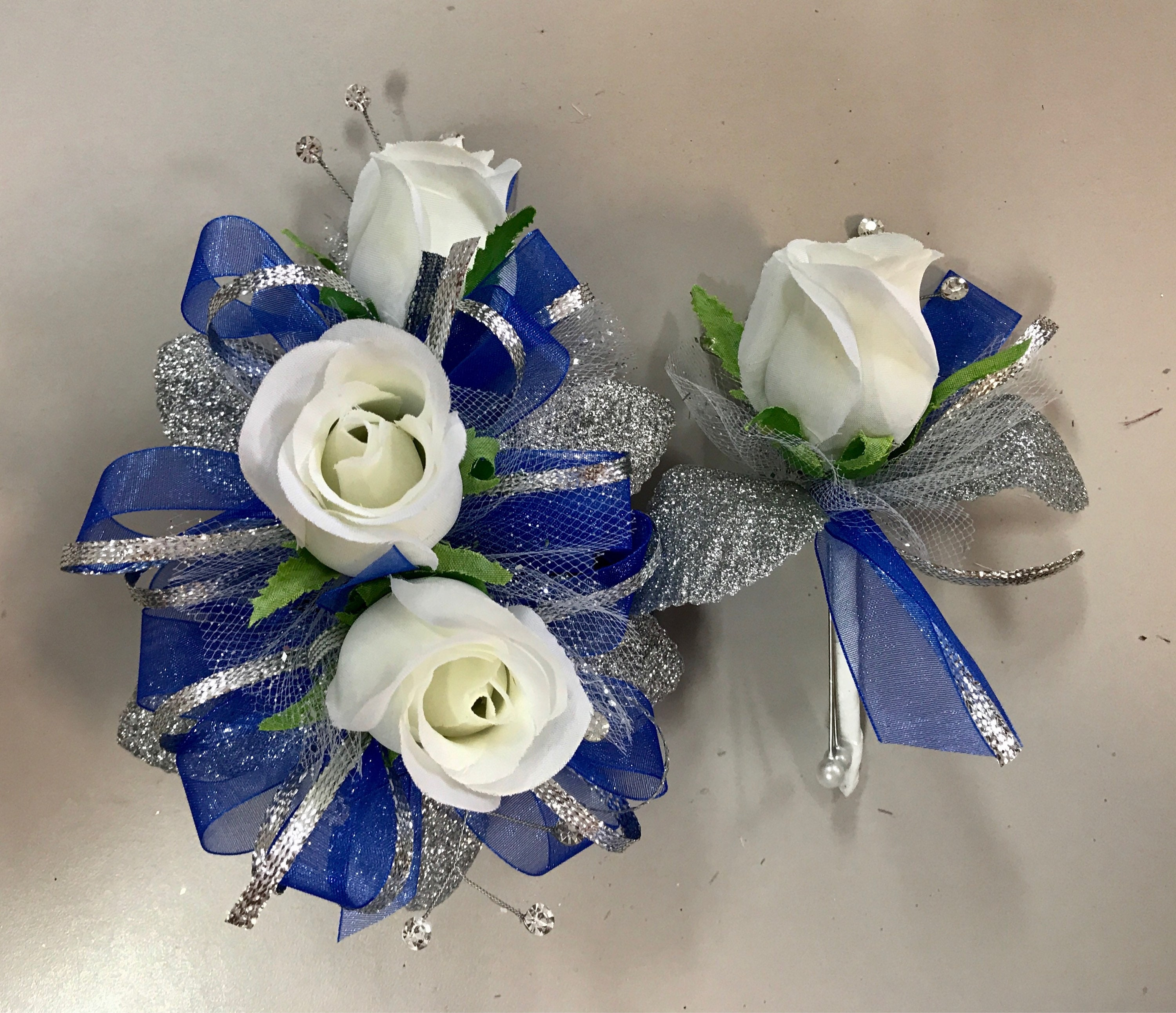 Royal Blue And White Rose Corsage And Boutonniere Set Etsy