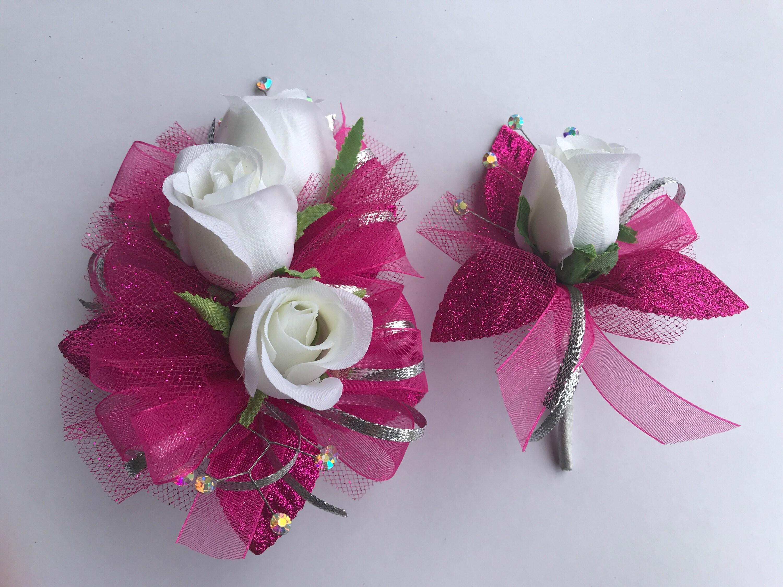 White Rose Shocking Pink Prom Corsage Set Artificial Rose Etsy