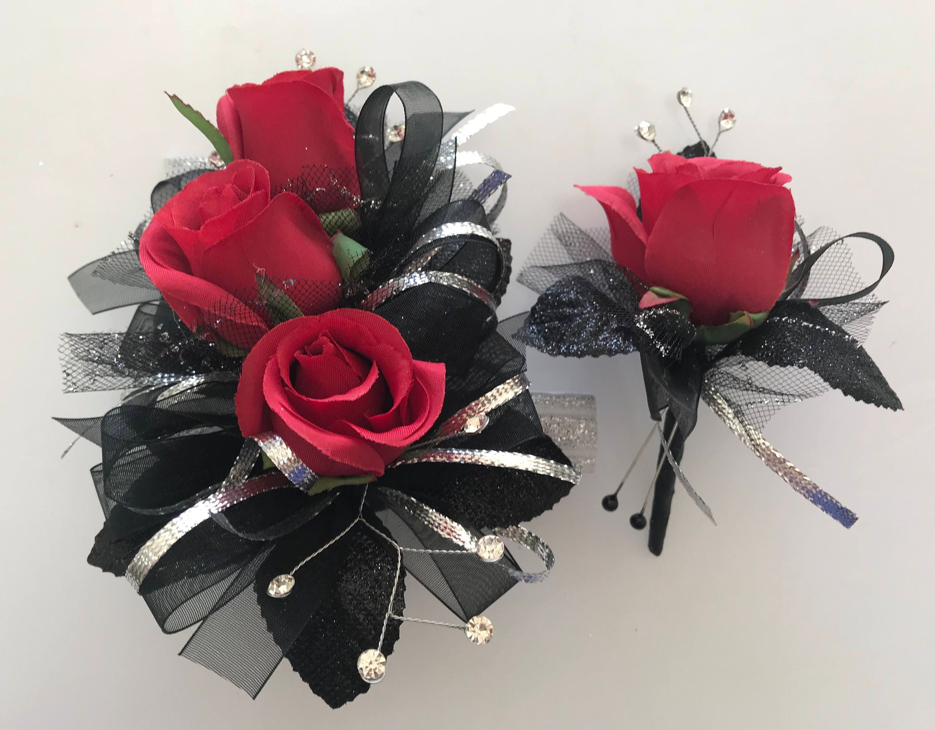 Red Silver Prom Silk Corsage Set Artificial Flowers Etsy