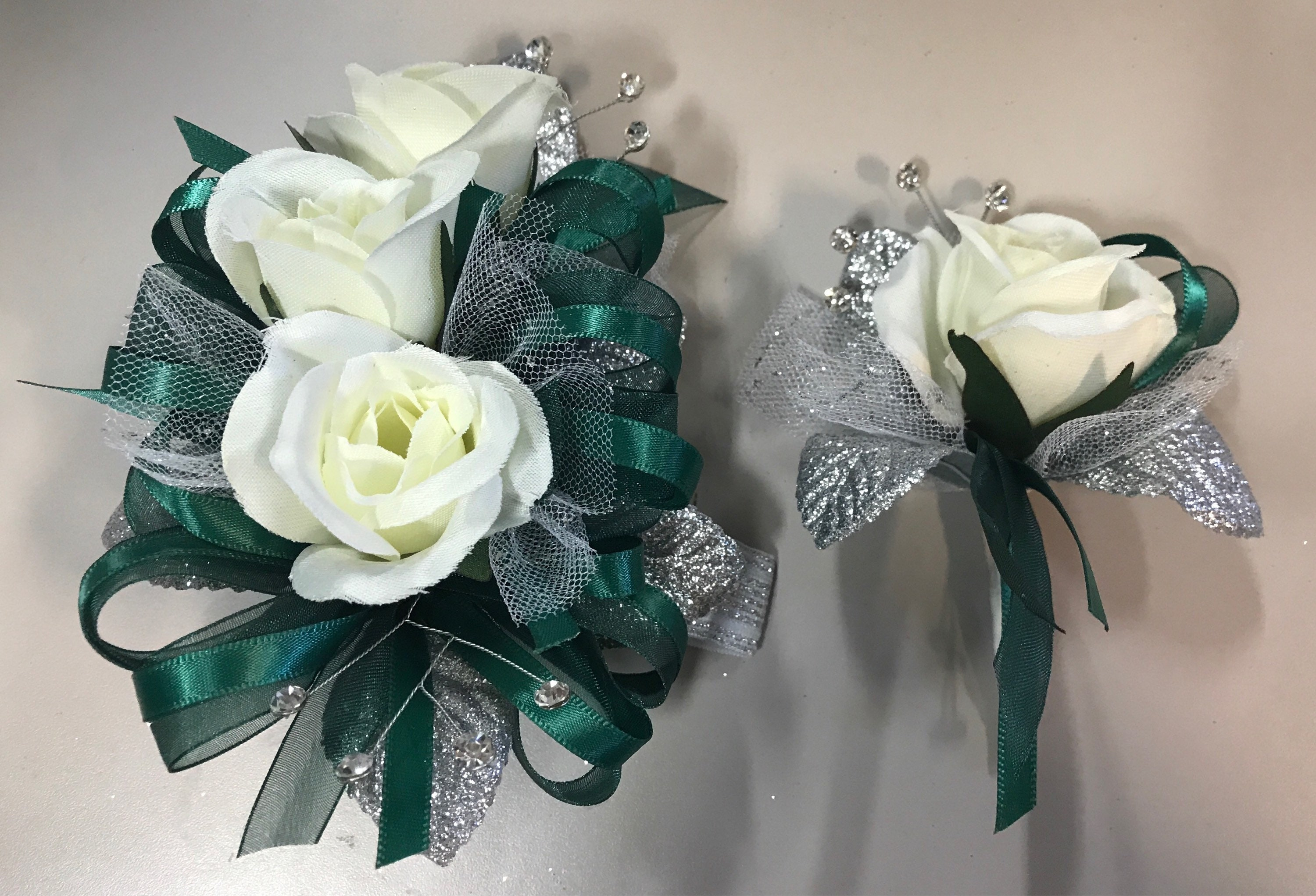 Hunter Green Prom Silk Corsage Set Artificial Flowers Etsy