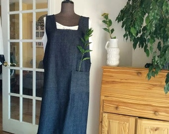 Denim Pinafore. Japanese Cross Back Apron. Artist Smock.  JTrove.  XS/S/M/XL made to measure