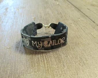 Navy NWU Bracelet, Navy NWU111 Camo Bracelet, Navy wristlet, Navy Key Fob, Navy Jewelry, Navy Gift