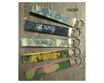 Military Wristlet, DOUBLE SIDED-Army, Navy, Air Force, Marine Name Tape Key Chain, Personalized Military Key chain, Military Key Fob