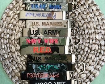 Military keychain, Military wristlet, Name Tape Key Chain, Camo wristlet, Camo Keychain, Military Branch Key Fob