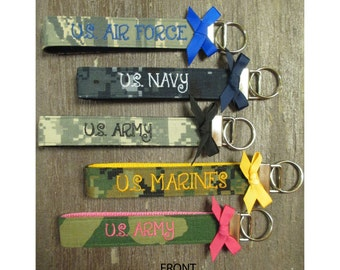 Military Wristlet, DOUBLE SIDED-Army, Navy, Air Force, Marine Name Tape Key Chain, Military Key Fob with a bow