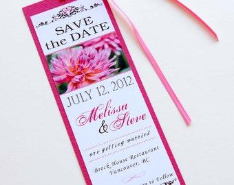Pink Dahlia Flower Wedding Bookmark Save the Date