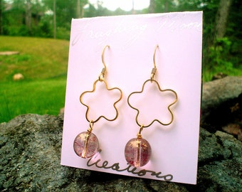 Earring-Emily Earring in vermeil  and glass bead