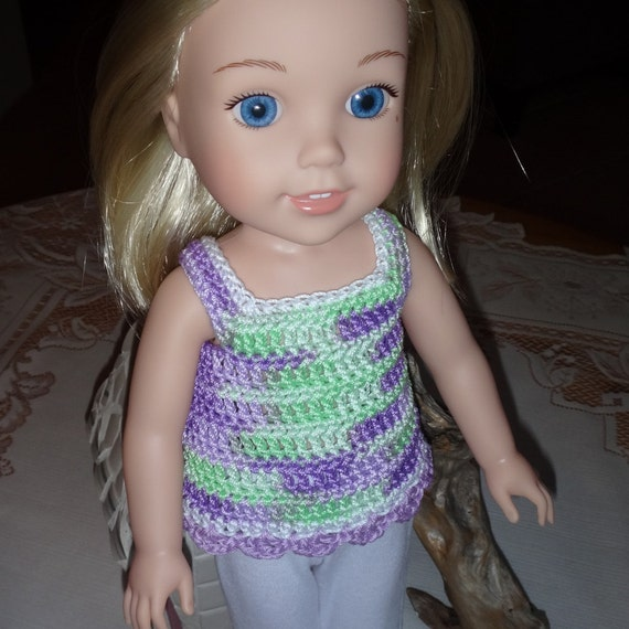 Crochet outfit 14 15 inch AG Wellie Wishers Doll one piece  Swimsuit Ruffle Rainbow Pink