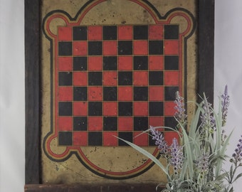50da2f361b Rare Primitive Game Board, Tin Lithograph Checkerboard, Antique Checkerboard,  Folk Art Americana Game Board