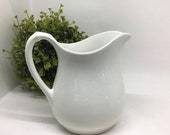 Vintage Ironstone Pitcher, White Granite W.S. George Old Creamer Pitcher, Creamy White Small Antique Jug, Farmhouse Decor, Early 1900 39 s