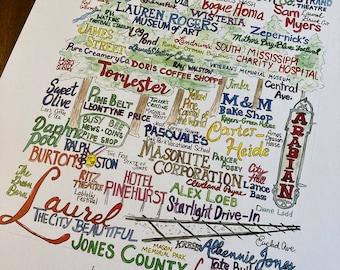 Laurel,Mississippi wordart local landmark art signed limited edition print UNFRAMED