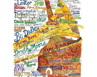 "Mississippi Jazz & Classical Musicians 11x14"" wordart local landmark art signed limited edition print UNFRAMED"